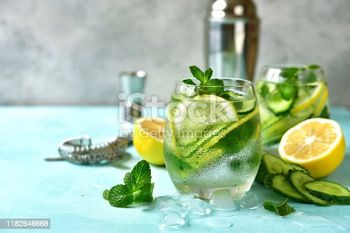 Cucumber and lemon refreshing drink with mint in a glasses.