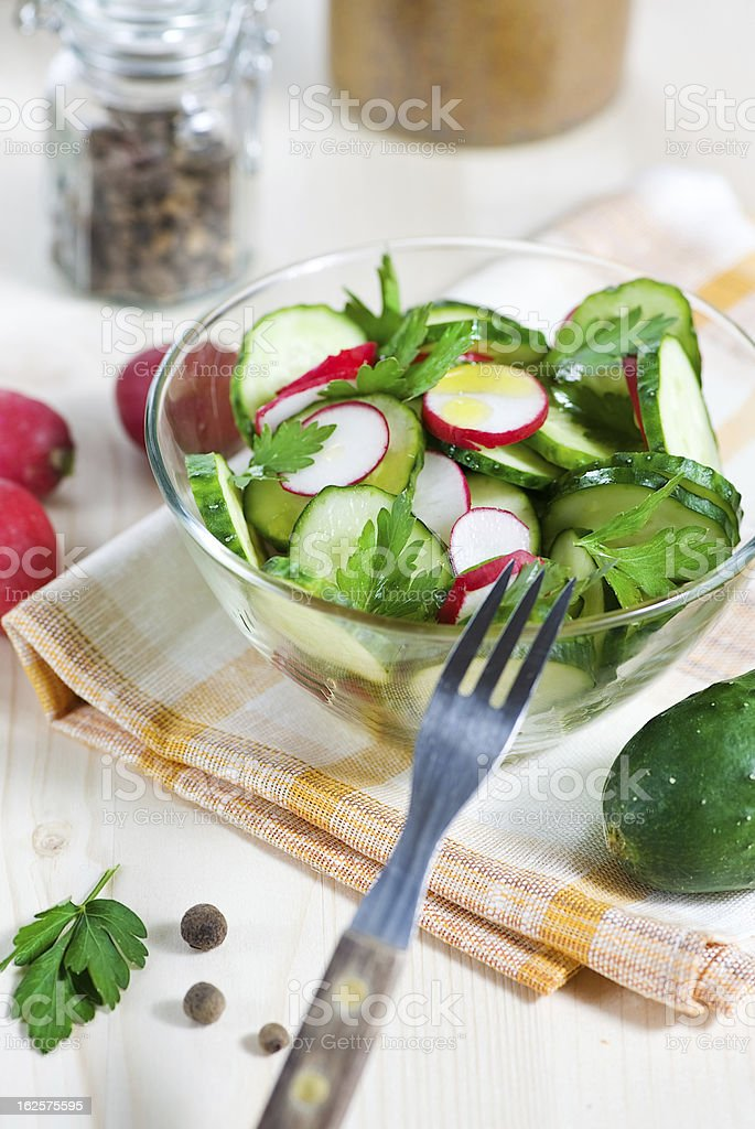 Cucumber and radish salad royalty-free stock photo