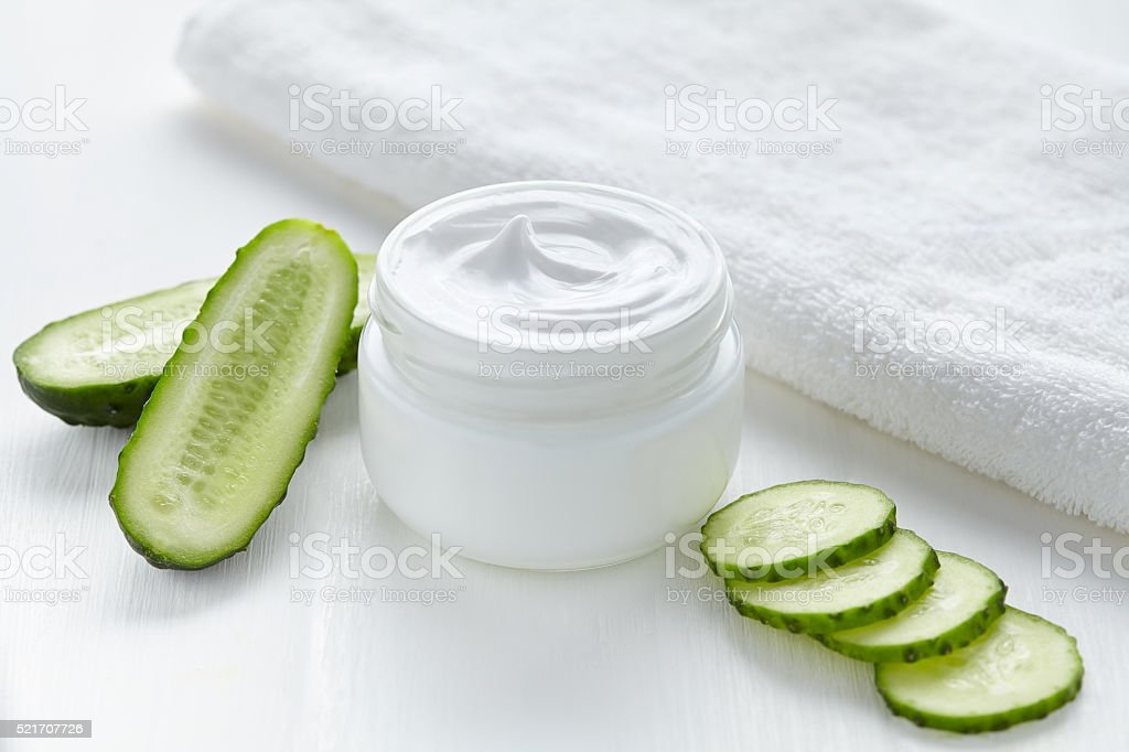 Cucumber cosmetic body cream natural wellness health care stock photo