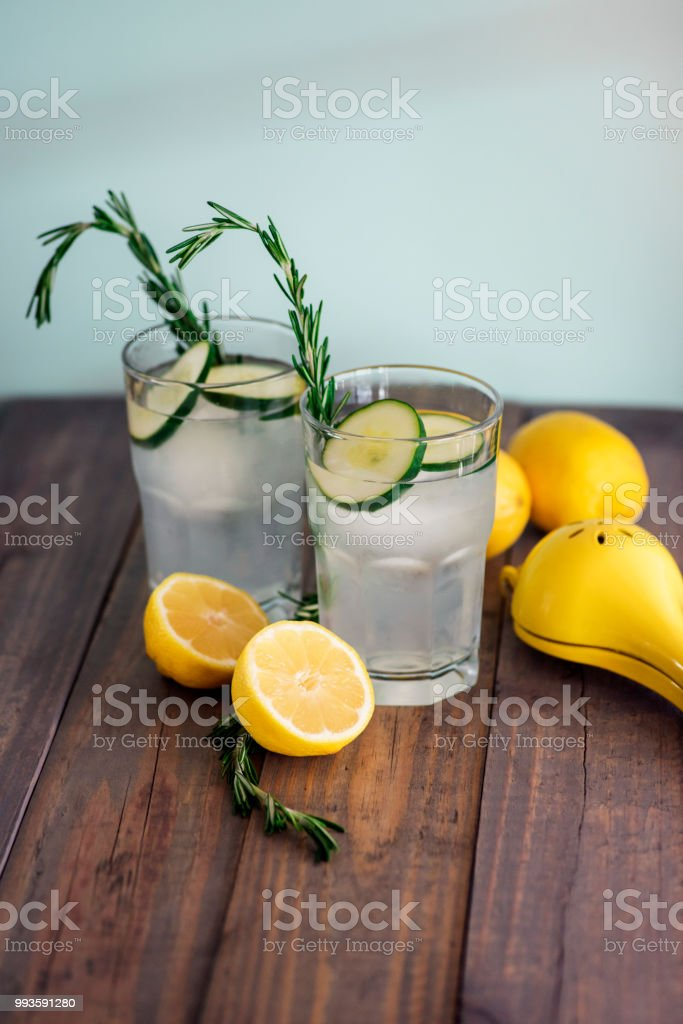 Cucumber lemon cocktails stock photo