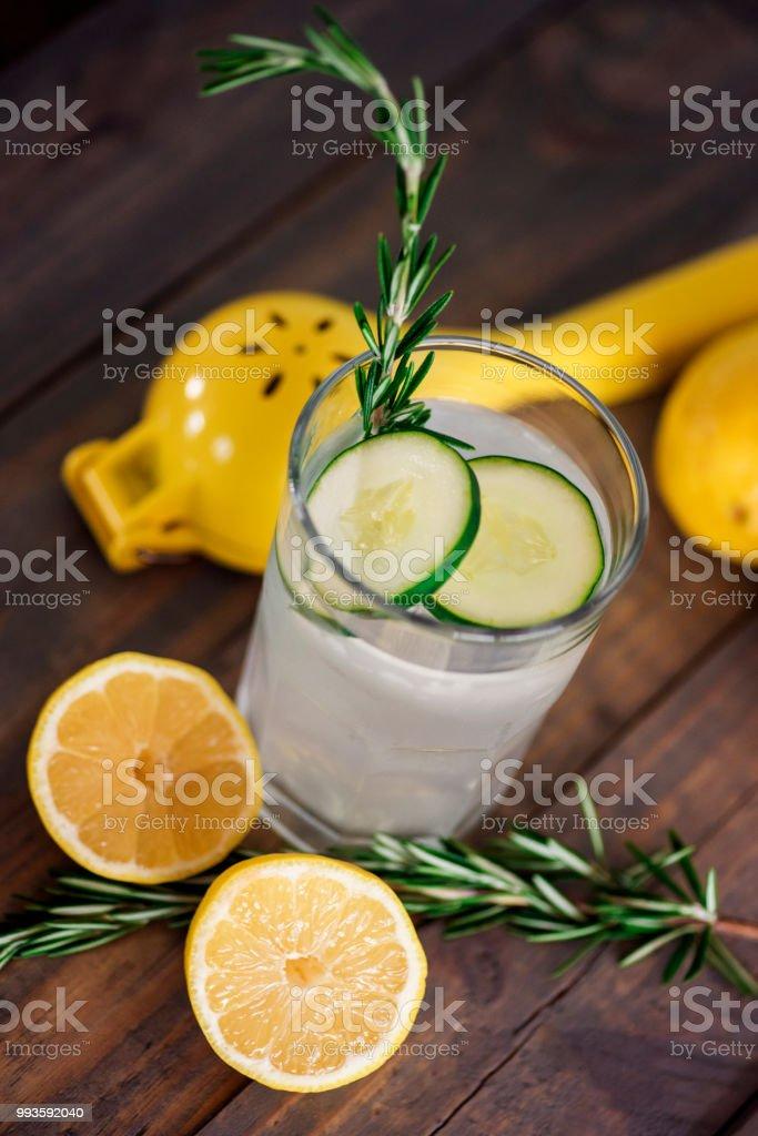 Cucumber lemon drinks stock photo