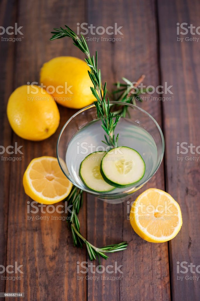 Cucumber lemon martini stock photo