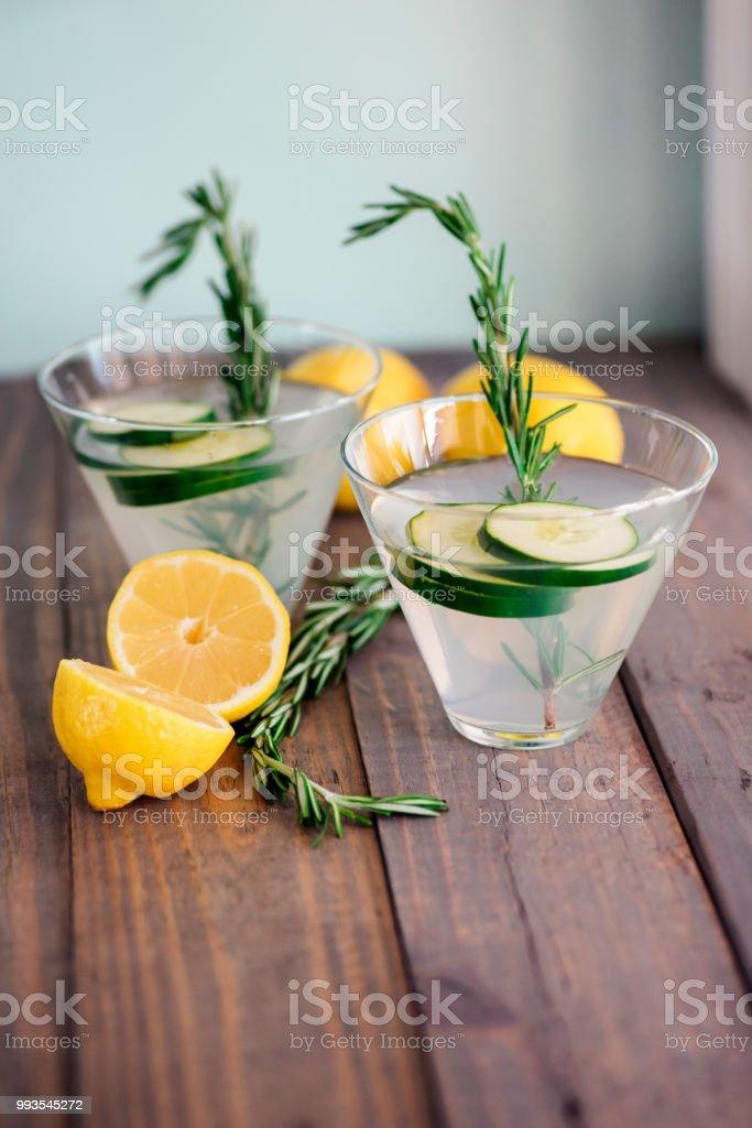 Cucumber lemon martinis stock photo