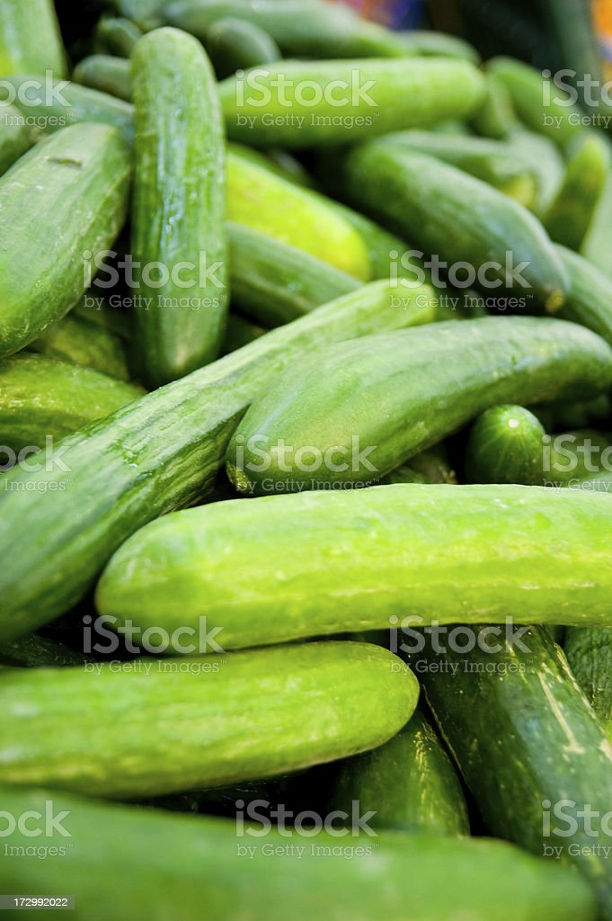 Cucumber on market place royalty-free stock photo