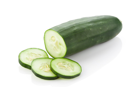 Cucumber with Slices Isolated on White Background