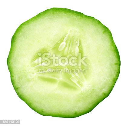 sliced cucumber isolated on white background. Clipping Path