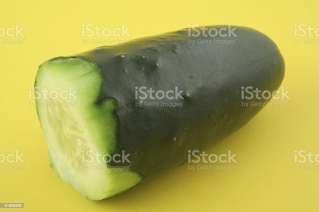 cucumber profile on yellow royalty-free stock photo