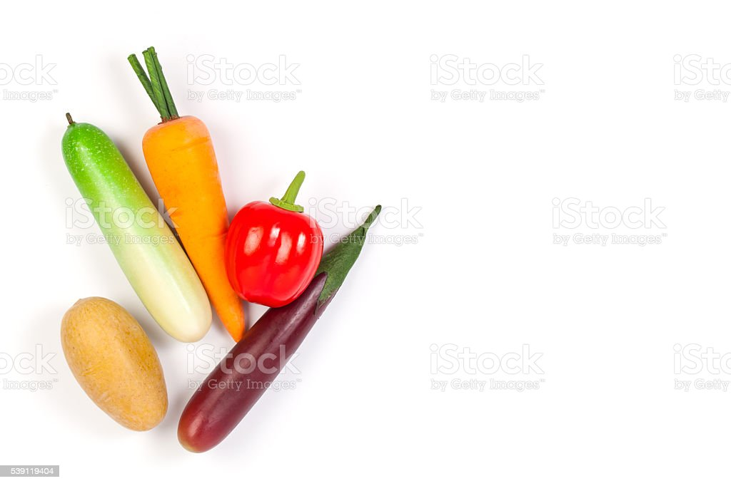 Cucumber ,Purple Eggplant ,potato,carrot and bell pepper isolate stock photo