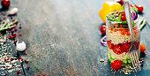 Cucumber, quinoa, tomato, onion, carrot and mint salad