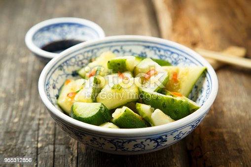 Asian style cucumber salad with chilli pepper