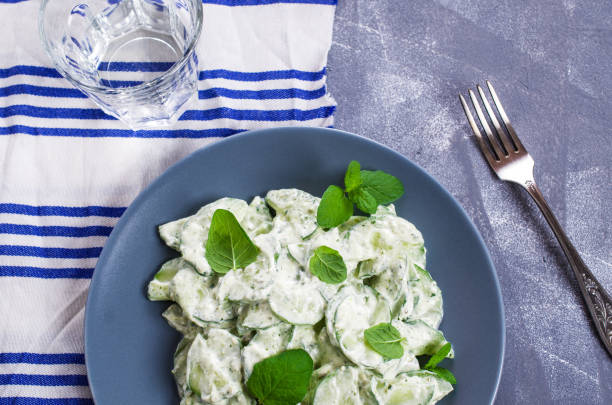 Cucumber salad with mint stock photo