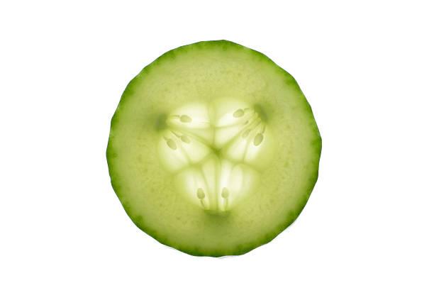 Gurkenscheibe auf weißem Hintergrund – Foto