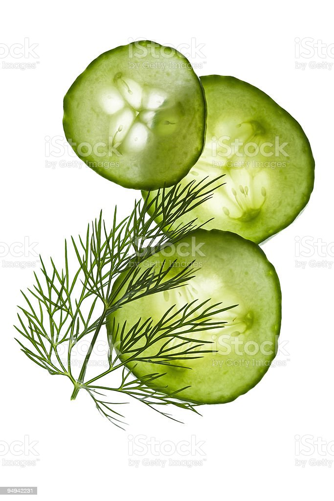 cucumber slices and dill royalty-free stock photo