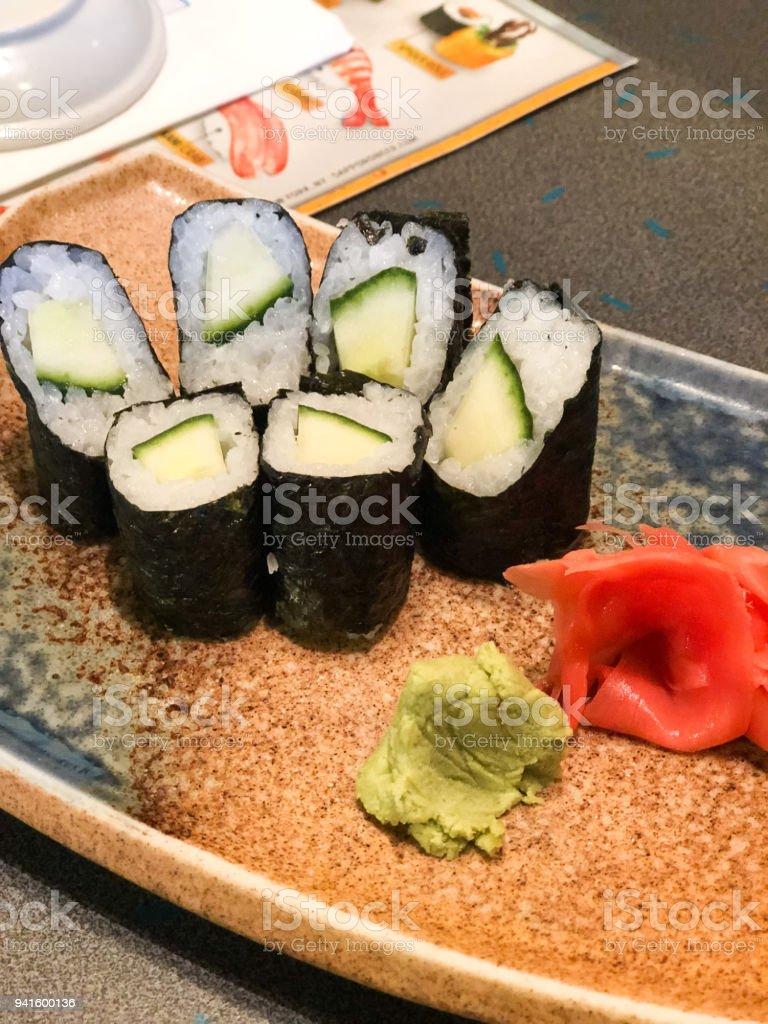 Cucumber Sushi at Restaurant stock photo