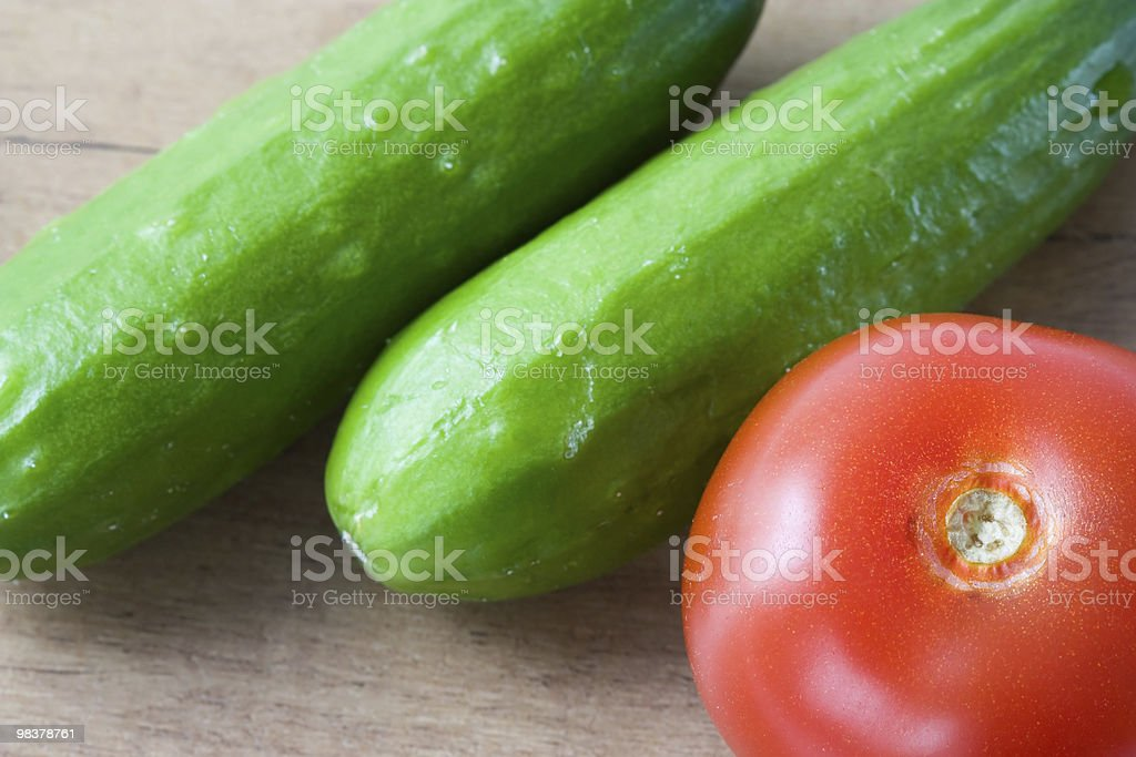 Cucumbers and tomato royalty-free stock photo