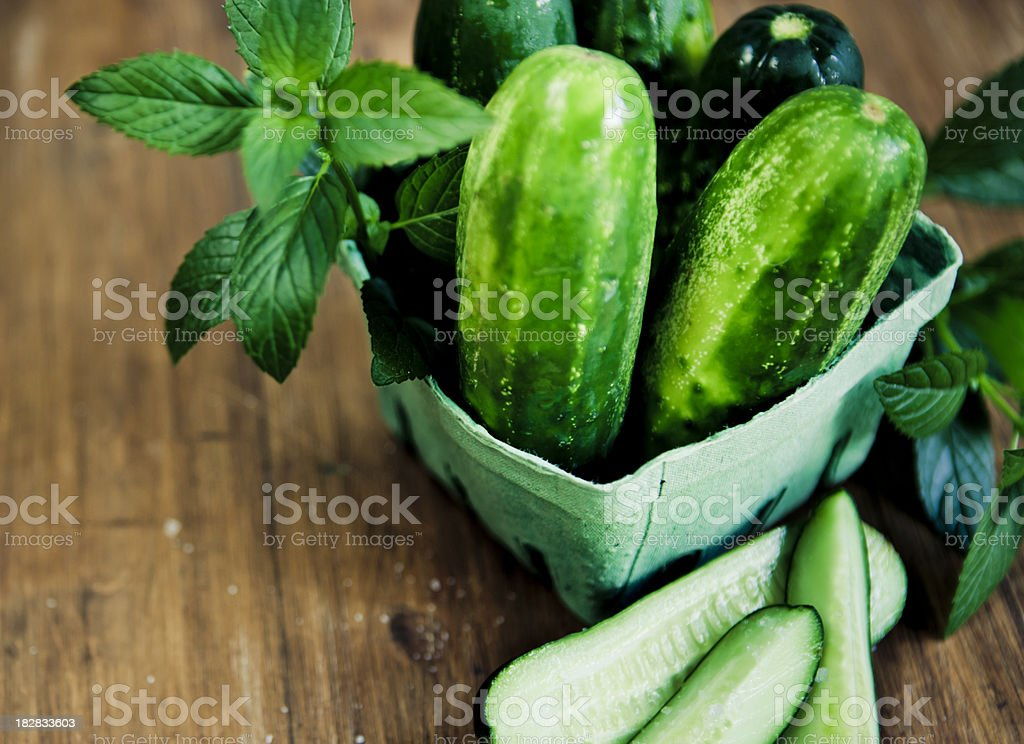 Cucumbers, mint and salt royalty-free stock photo