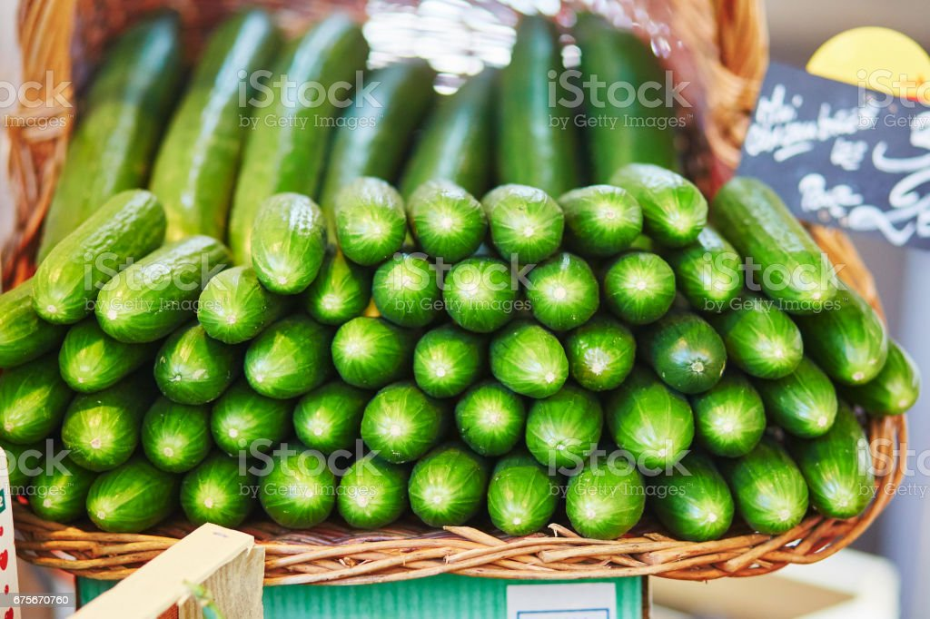 Cucumbers on farmer market in Paris, France royalty-free stock photo