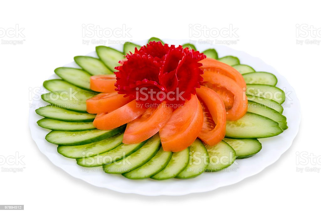 Cucumbers with tomatoes, clipping path. royalty-free stock photo