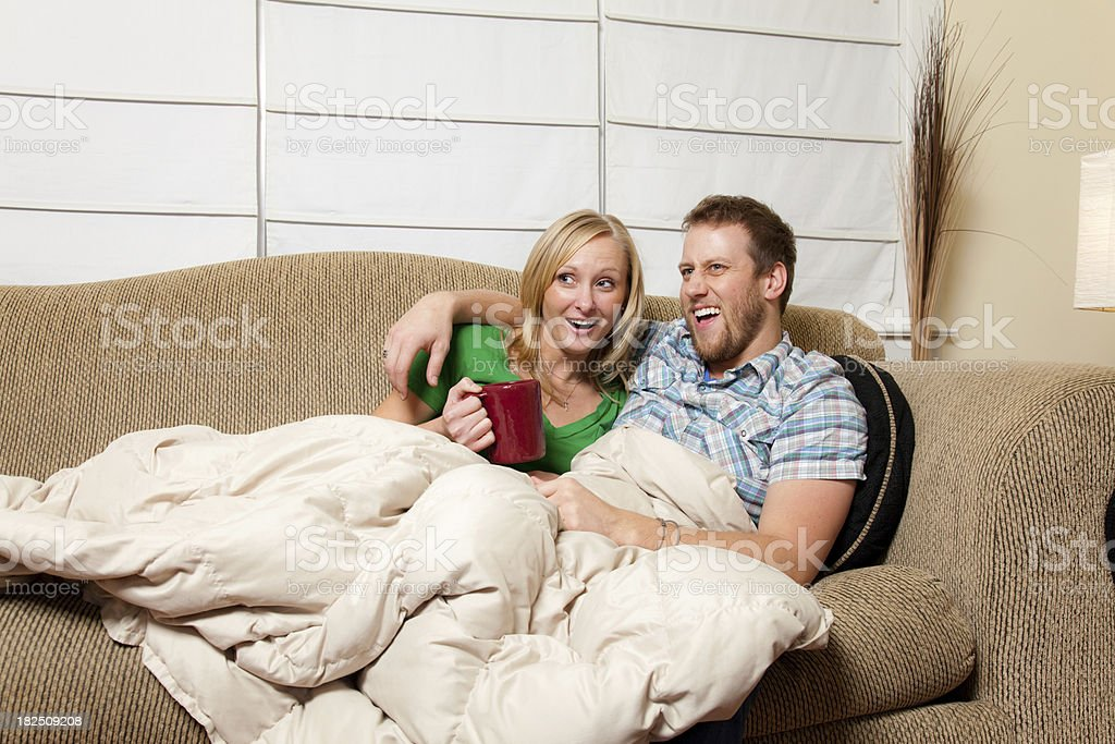 Cuddling on the Couch royalty-free stock photo