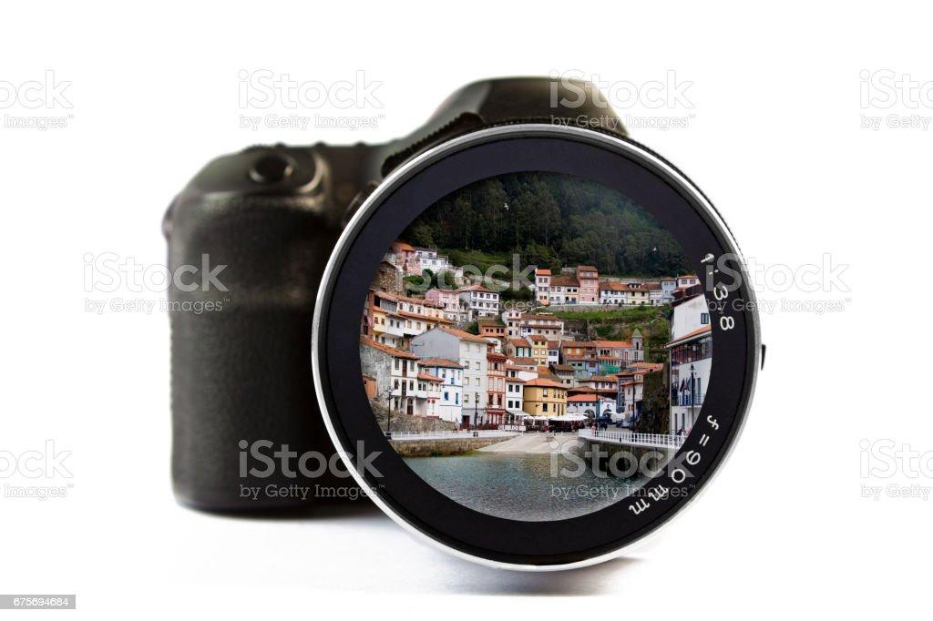 Cudillero Seen Through a Lens of a Camera royalty-free stock photo
