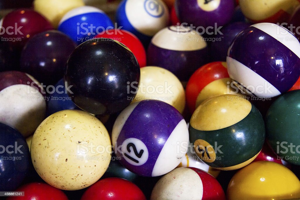 Cue Ball and a pile of Billiard Balls stock photo