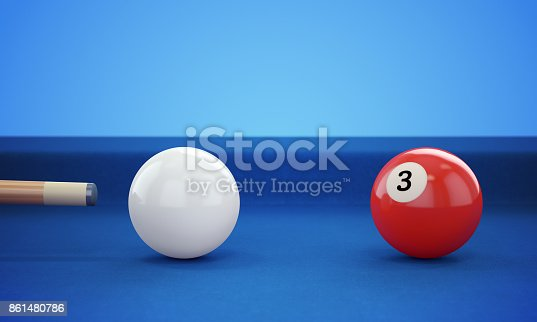 istock Cue hitting pool ball 861480786