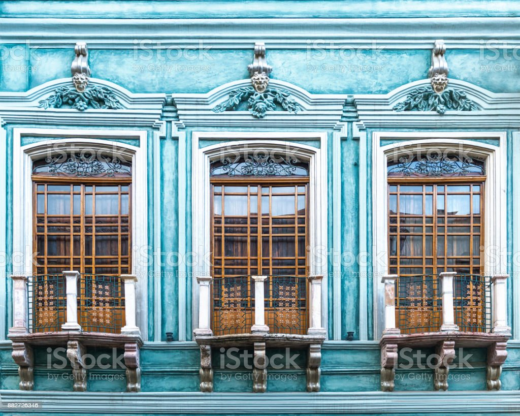 Cuenca Turquoise facade stock photo