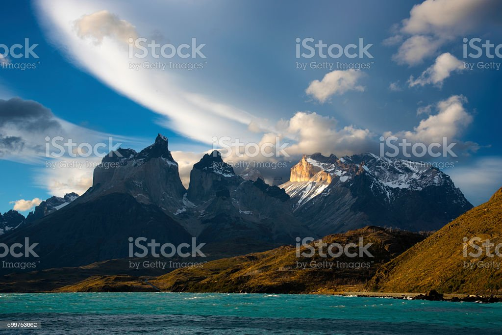 Cuernos del Paine at Sunset stock photo