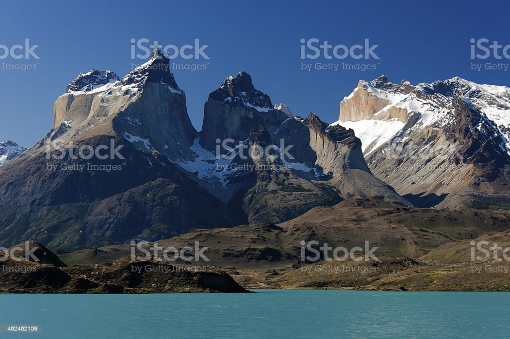 Cuernos del Paine massif from Lake Pehoe royalty-free stock photo