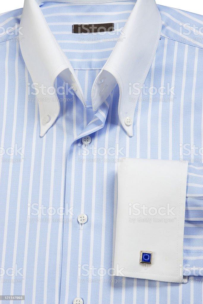 cufflink on blue striped shirt royalty-free stock photo