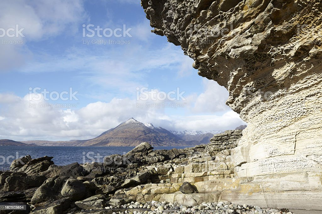 Cuillin Hills and Loch Scavaig from Elgol, Skye, Scotland stock photo