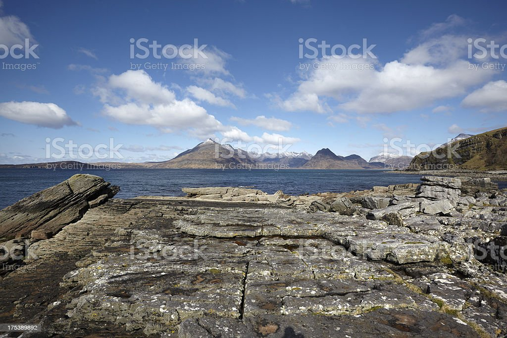 Cuillin Mountains and Loch Scavaig from Elgol Beach stock photo