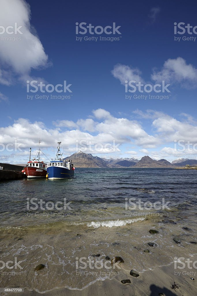 Cuillin Mountains and Loch Scavaig from Elgol, Skye stock photo