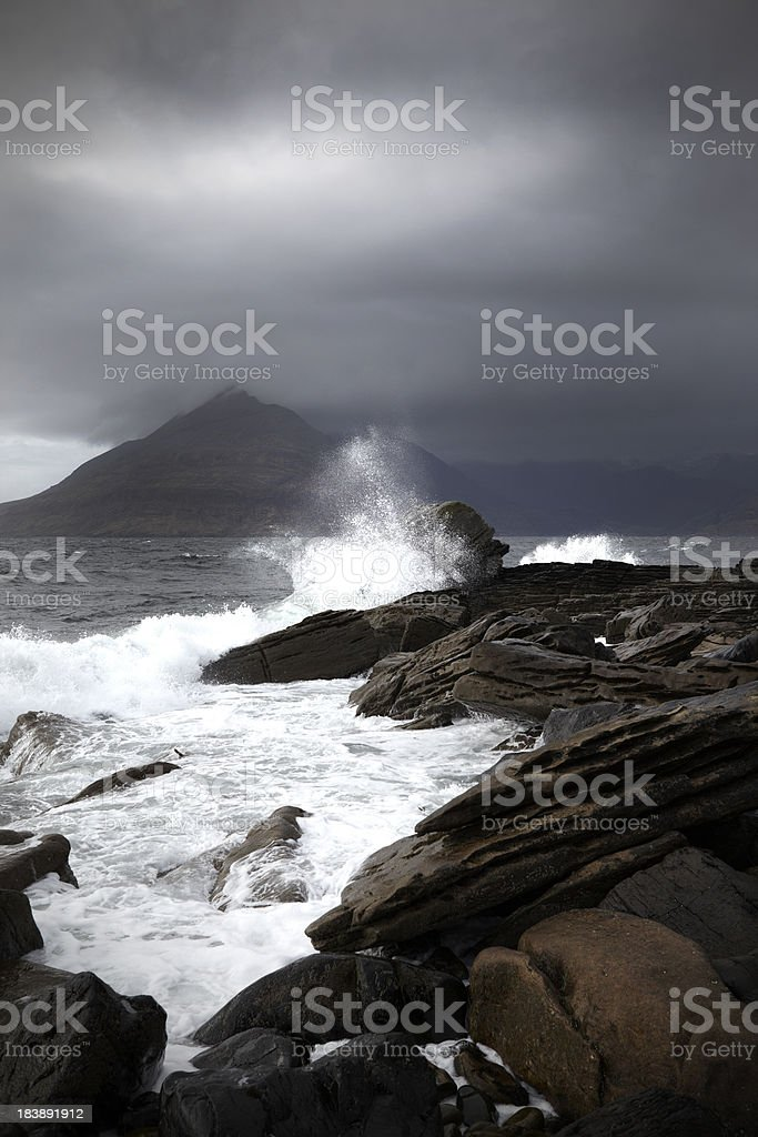 Cuillin Mountains in storm, Isle of Skye, Scotland stock photo