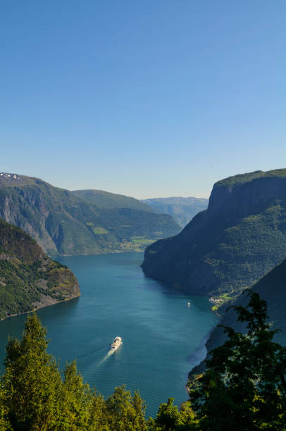 Cuirse ship in the Aurlandsfjord in Norway during a beautiful summer day stock photo