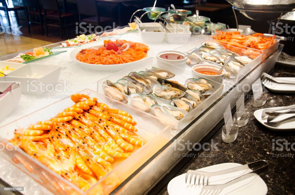 Cuisine seafood line at food buffet zbiór zdjęć royalty-free