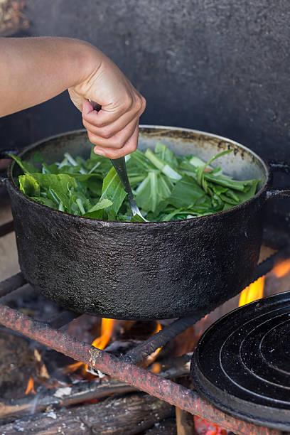 Cuisiner au feu de bois Cuisine créole au feu de bois dans une marmite feu stock pictures, royalty-free photos & images