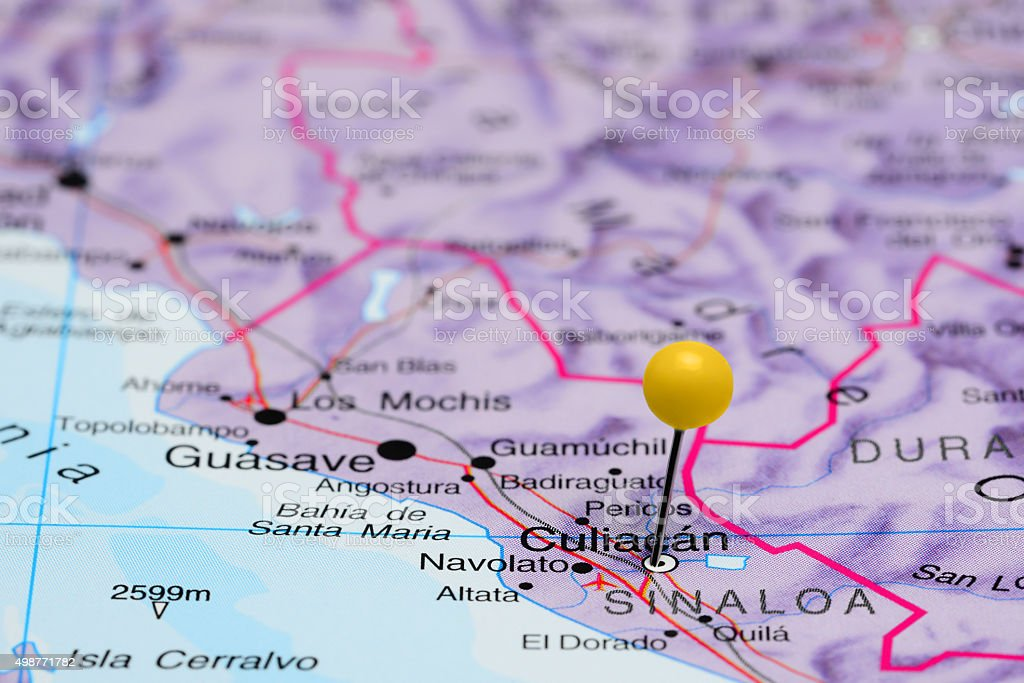Culiacan pinned on a map of Mexico stock photo