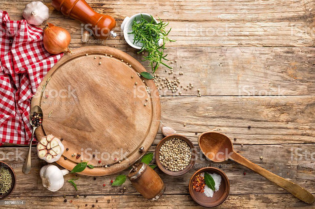 culinary background with empty cutting board stock photo