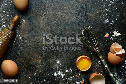 istock Culinary background with ingredients for baking 1167428916