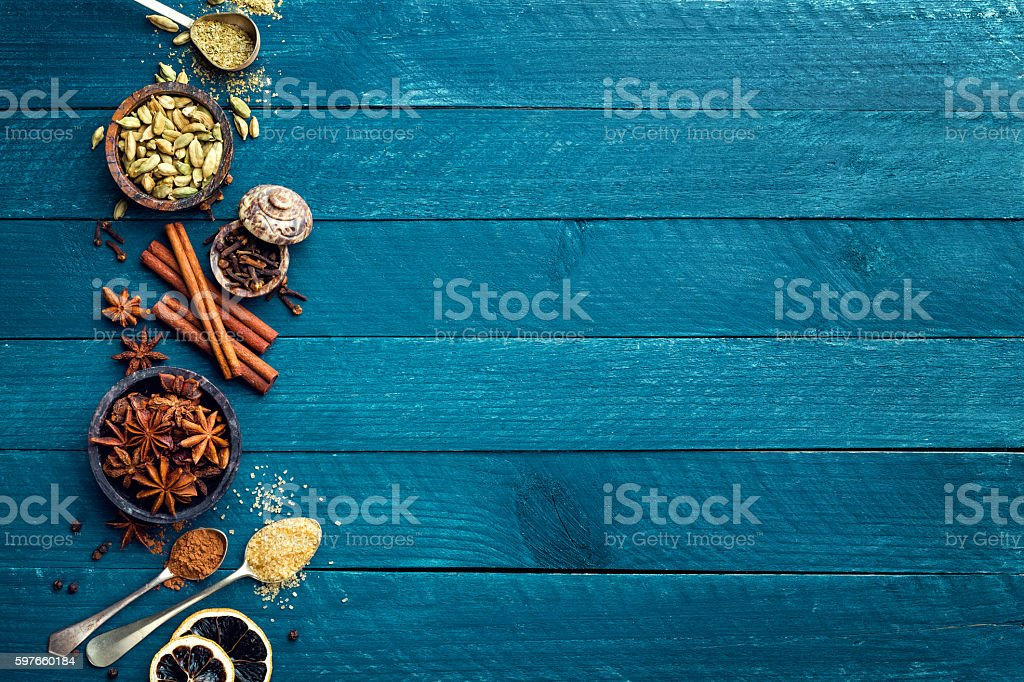 culinary background with various spices for Christmas mulled wine stock photo