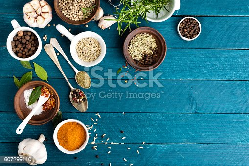 istock culinary background with various spices 607299110