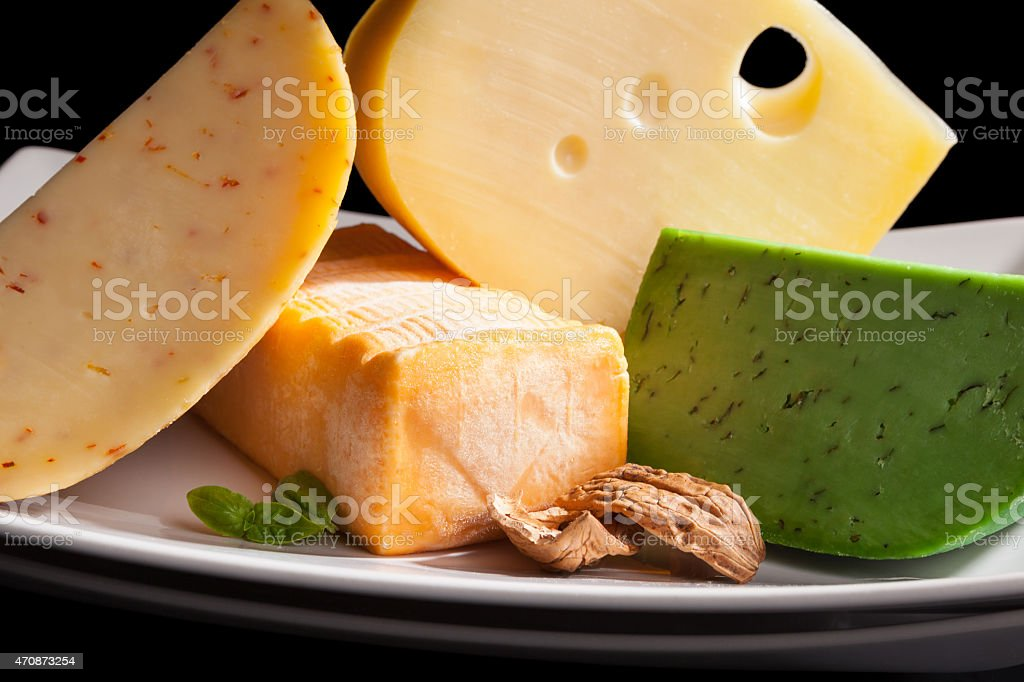 Culinary cheese variation close up. stock photo