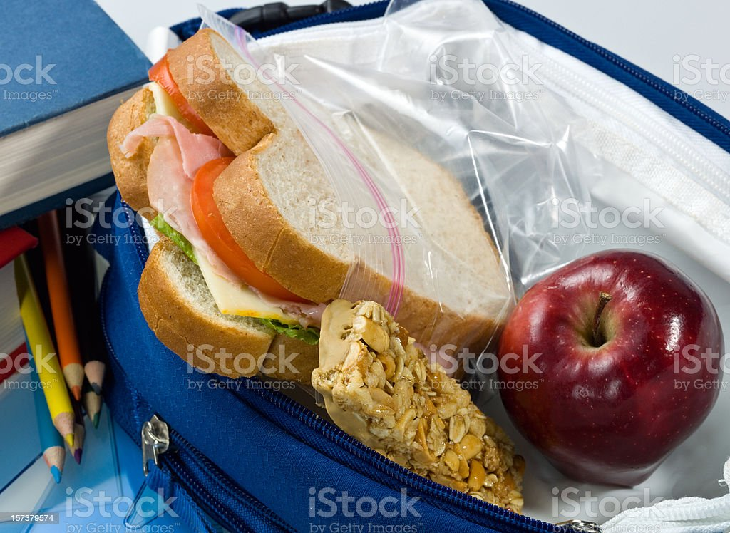 Culinary close up of a packed school lunch stock photo