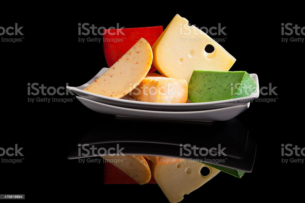Culinary colorful cheese variation. stock photo