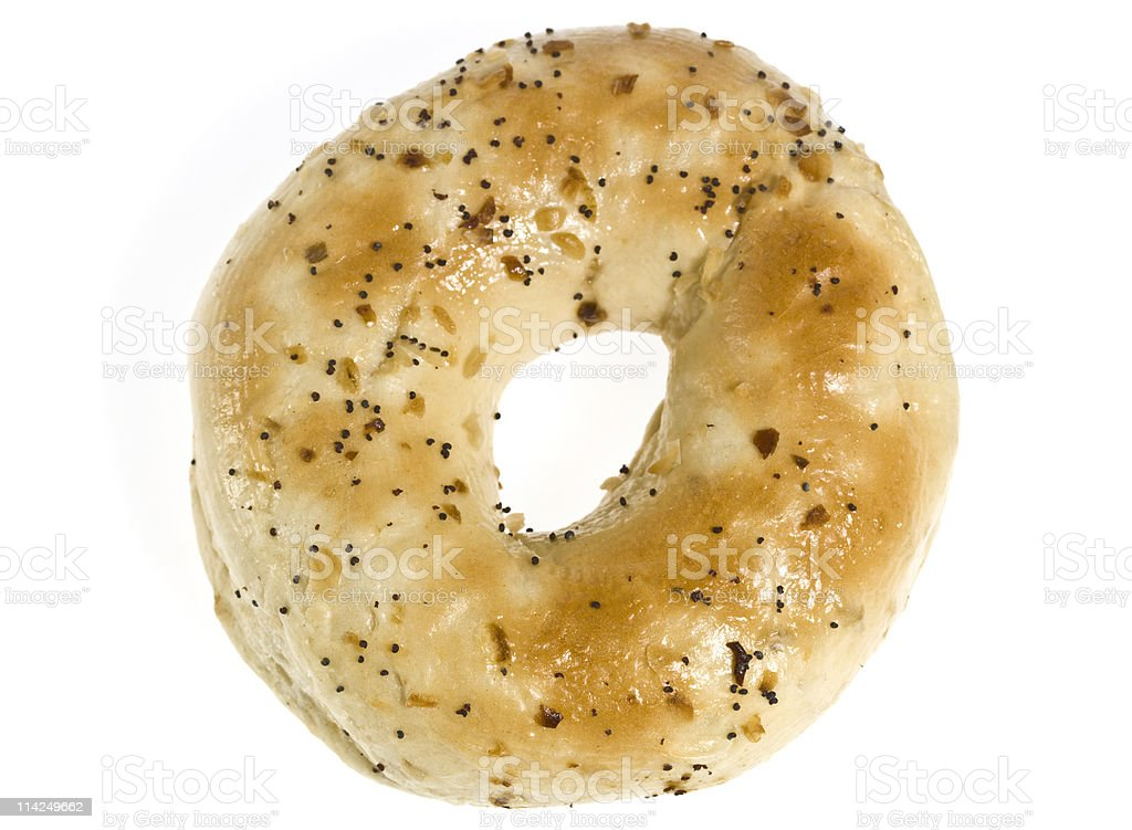 Culinary image above  view of an onion bagel stock photo