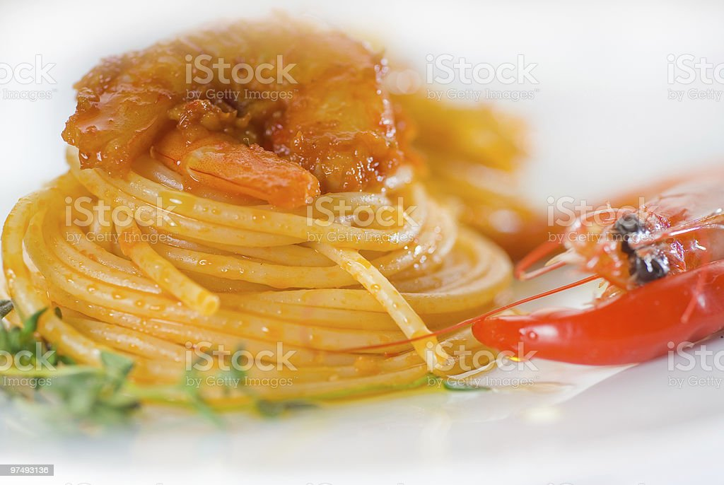 Culinary image of Spaghetti with spicy shrimp royalty-free stock photo