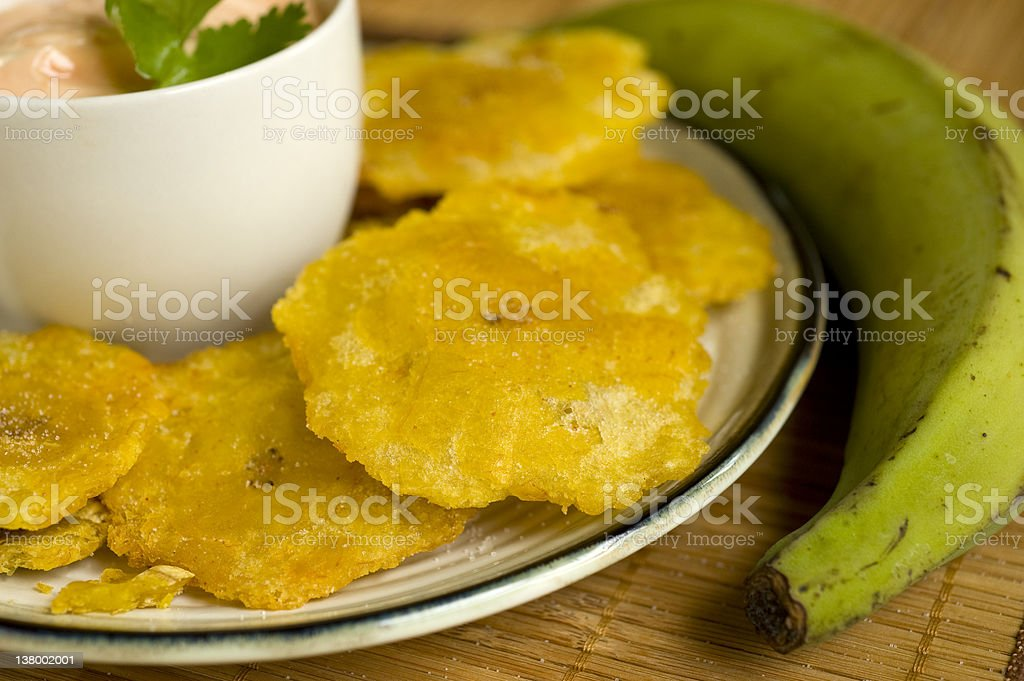 Culinary shot of fried banana chips stock photo