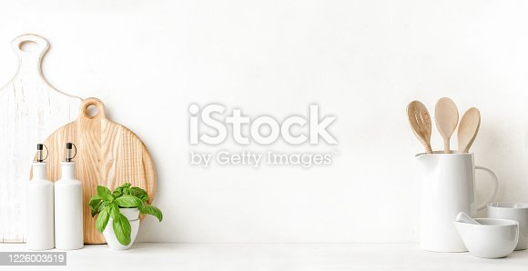 834157738 istock photo Culinary utensils background with blank space for a text 1226003519