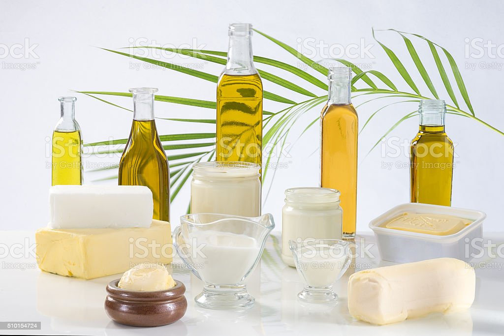 culinary variety of fats stock photo